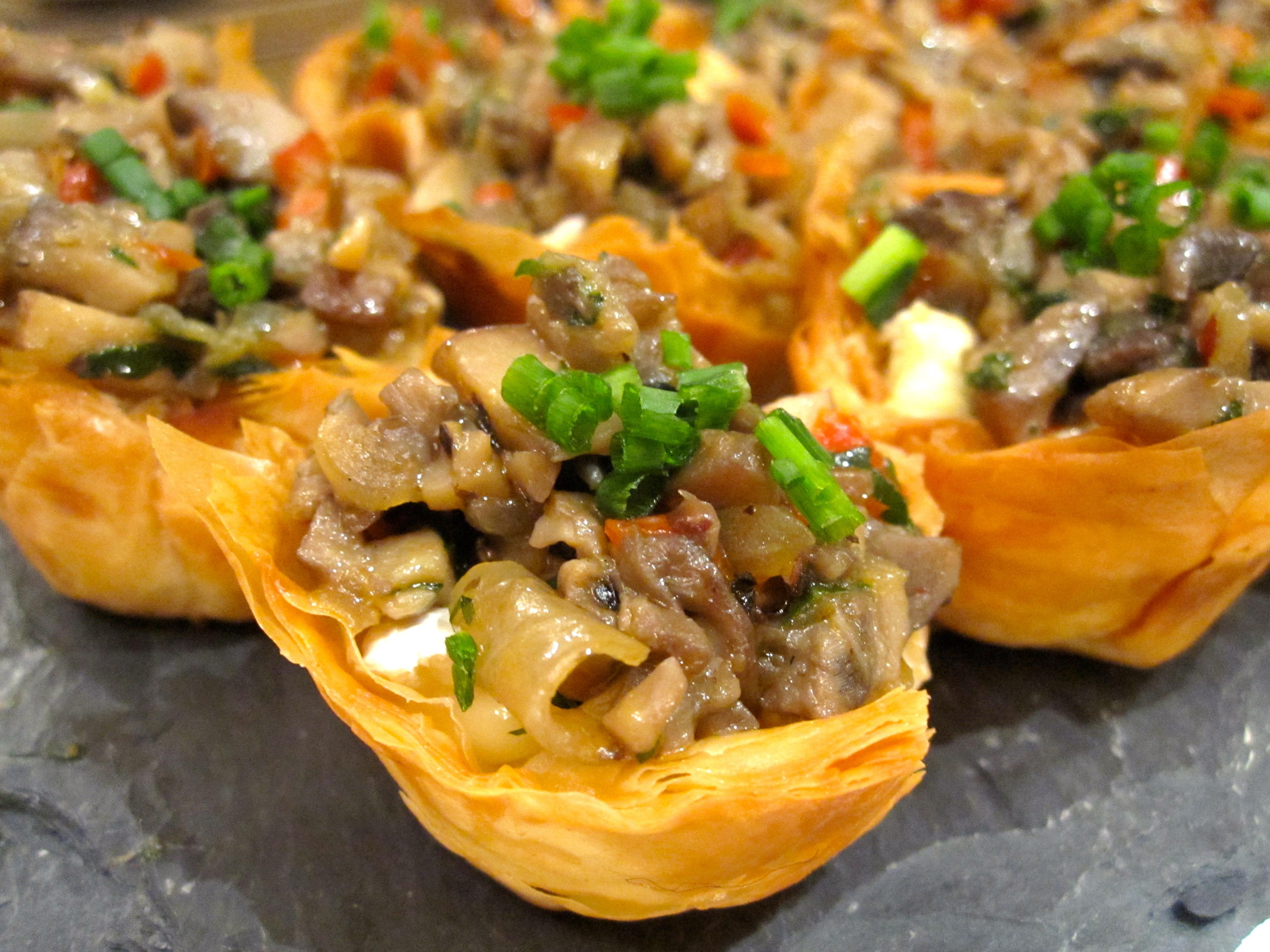Mushroom Brie Phyllo Tartlets Six Twists